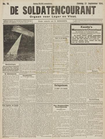 De Soldatencourant. Orgaan voor Leger en Vloot 1914-09-27