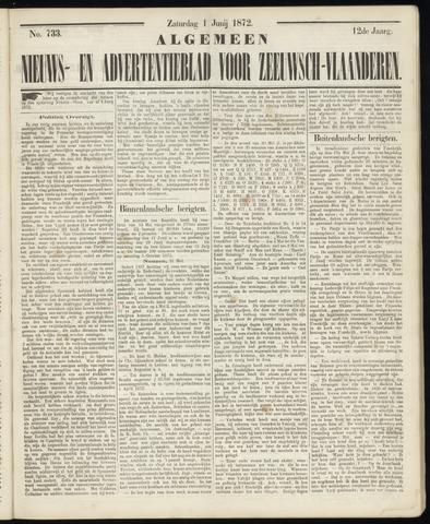 Ter Neuzensche Courant. Algemeen Nieuws- en Advertentieblad voor Zeeuwsch-Vlaanderen / Neuzensche Courant ... (idem) / (Algemeen) nieuws en advertentieblad voor Zeeuwsch-Vlaanderen 1872-06-01