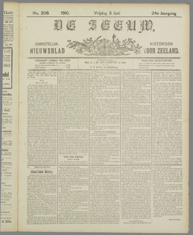 De Zeeuw. Christelijk-historisch nieuwsblad voor Zeeland 1910-06-03