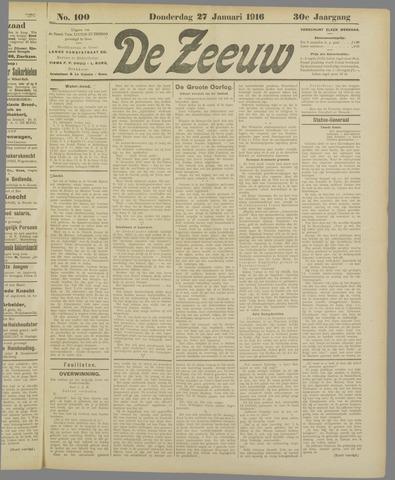 De Zeeuw. Christelijk-historisch nieuwsblad voor Zeeland 1916-01-27