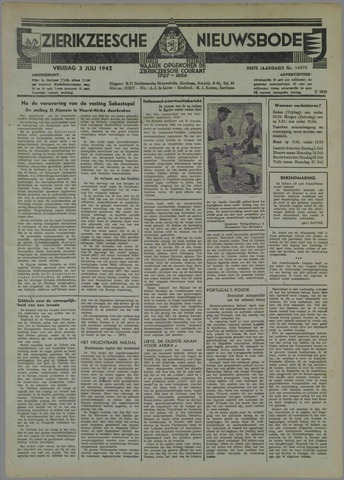 Zierikzeesche Nieuwsbode 1942-07-03
