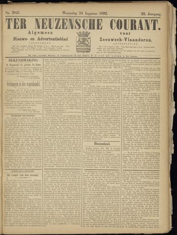 Ter Neuzensche Courant. Algemeen Nieuws- en Advertentieblad voor Zeeuwsch-Vlaanderen / Neuzensche Courant ... (idem) / (Algemeen) nieuws en advertentieblad voor Zeeuwsch-Vlaanderen 1892-08-24