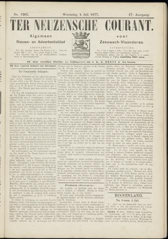 Ter Neuzensche Courant. Algemeen Nieuws- en Advertentieblad voor Zeeuwsch-Vlaanderen / Neuzensche Courant ... (idem) / (Algemeen) nieuws en advertentieblad voor Zeeuwsch-Vlaanderen 1877-07-04