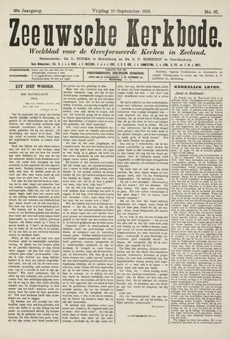 Zeeuwsche kerkbode, weekblad gewijd aan de belangen der gereformeerde kerken/ Zeeuwsch kerkblad 1915-09-10
