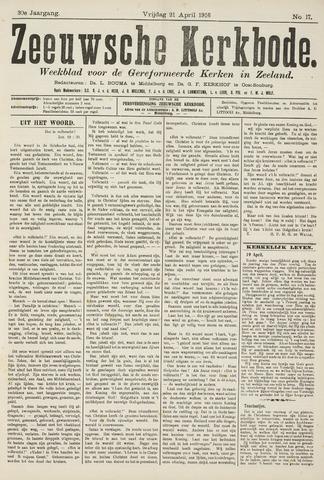 Zeeuwsche kerkbode, weekblad gewijd aan de belangen der gereformeerde kerken/ Zeeuwsch kerkblad 1916-04-21
