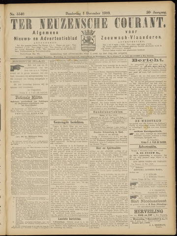 Ter Neuzensche Courant. Algemeen Nieuws- en Advertentieblad voor Zeeuwsch-Vlaanderen / Neuzensche Courant ... (idem) / (Algemeen) nieuws en advertentieblad voor Zeeuwsch-Vlaanderen 1910-12-01
