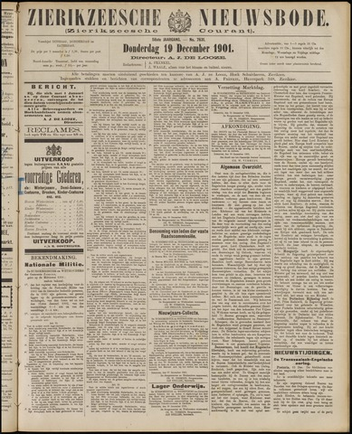 Zierikzeesche Nieuwsbode 1901-12-19
