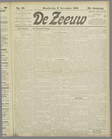 De Zeeuw. Christelijk-historisch nieuwsblad voor Zeeland 1916-11-02