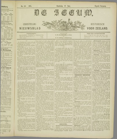 De Zeeuw. Christelijk-historisch nieuwsblad voor Zeeland 1895-06-27