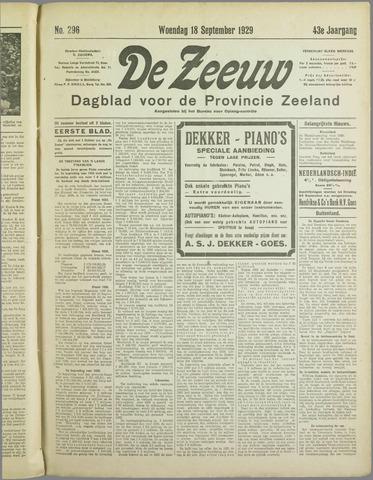 De Zeeuw. Christelijk-historisch nieuwsblad voor Zeeland 1929-09-18