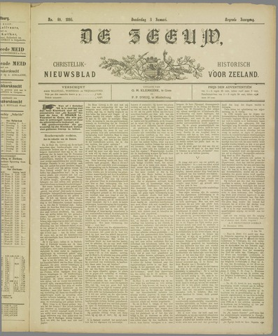 De Zeeuw. Christelijk-historisch nieuwsblad voor Zeeland 1895-01-03