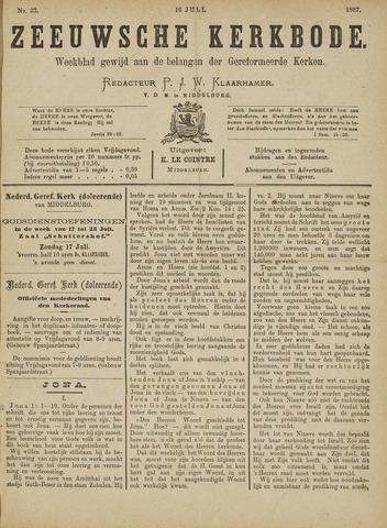 Zeeuwsche kerkbode, weekblad gewijd aan de belangen der gereformeerde kerken/ Zeeuwsch kerkblad 1887-07-16