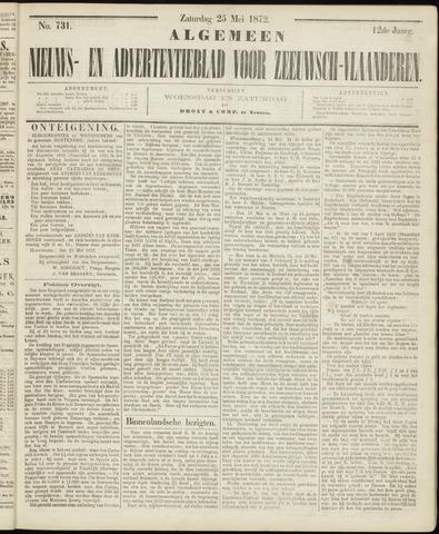 Ter Neuzensche Courant. Algemeen Nieuws- en Advertentieblad voor Zeeuwsch-Vlaanderen / Neuzensche Courant ... (idem) / (Algemeen) nieuws en advertentieblad voor Zeeuwsch-Vlaanderen 1872-05-25