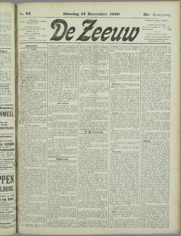 De Zeeuw. Christelijk-historisch nieuwsblad voor Zeeland 1920-12-14