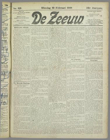 De Zeeuw. Christelijk-historisch nieuwsblad voor Zeeland 1918-02-12