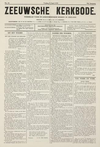Zeeuwsche kerkbode, weekblad gewijd aan de belangen der gereformeerde kerken/ Zeeuwsch kerkblad 1939-04-21