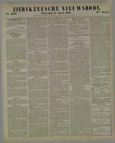 Zierikzeesche Nieuwsbode 1885-04-25