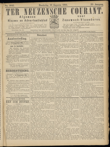 Ter Neuzensche Courant. Algemeen Nieuws- en Advertentieblad voor Zeeuwsch-Vlaanderen / Neuzensche Courant ... (idem) / (Algemeen) nieuws en advertentieblad voor Zeeuwsch-Vlaanderen 1911-08-10