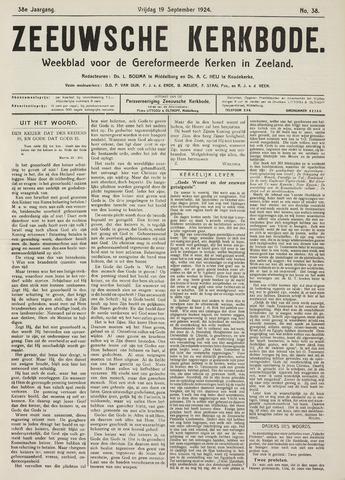 Zeeuwsche kerkbode, weekblad gewijd aan de belangen der gereformeerde kerken/ Zeeuwsch kerkblad 1924-09-19