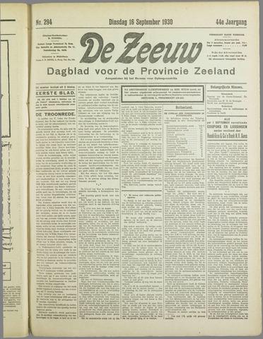 De Zeeuw. Christelijk-historisch nieuwsblad voor Zeeland 1930-09-16