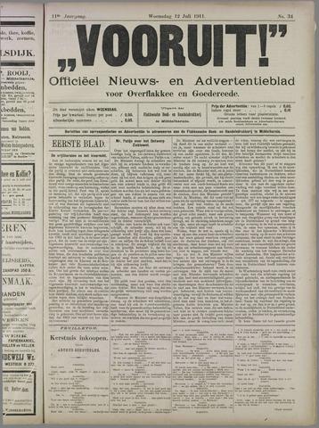 """""""Vooruit!""""Officieel Nieuws- en Advertentieblad voor Overflakkee en Goedereede 1911-07-12"""