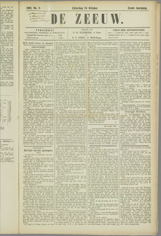 De Zeeuw. Christelijk-historisch nieuwsblad voor Zeeland 1891-10-24