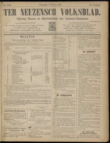 Ter Neuzensch Volksblad. Vrijzinnig nieuws- en advertentieblad voor Zeeuwsch- Vlaanderen / Zeeuwsch Nieuwsblad. Nieuws- en advertentieblad voor Zeeland 1917-02-07