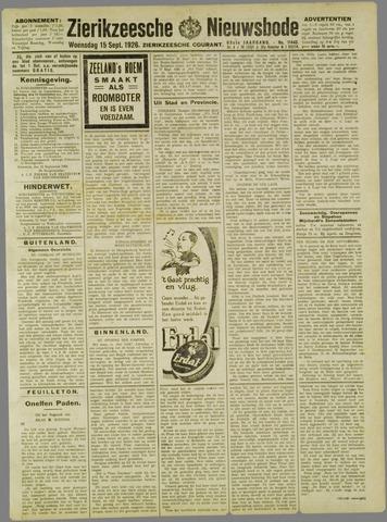 Zierikzeesche Nieuwsbode 1926-09-15