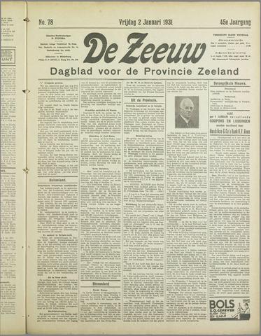 De Zeeuw. Christelijk-historisch nieuwsblad voor Zeeland 1931
