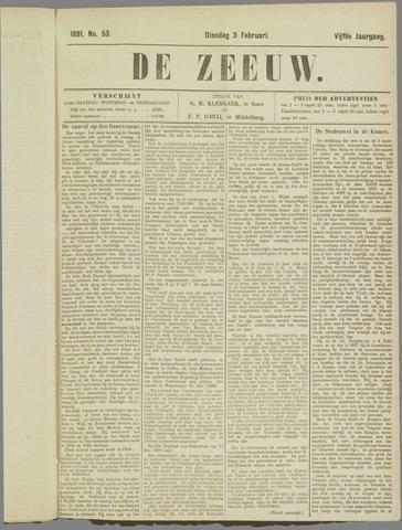 De Zeeuw. Christelijk-historisch nieuwsblad voor Zeeland 1891-02-03