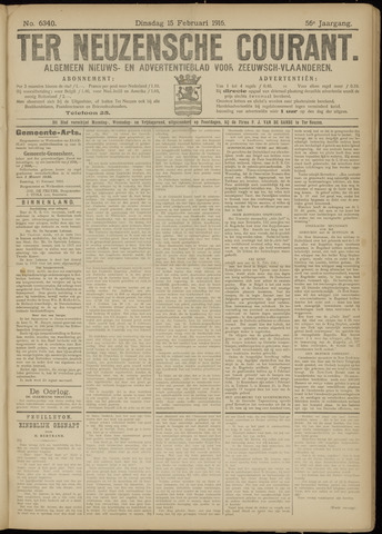 Ter Neuzensche Courant. Algemeen Nieuws- en Advertentieblad voor Zeeuwsch-Vlaanderen / Neuzensche Courant ... (idem) / (Algemeen) nieuws en advertentieblad voor Zeeuwsch-Vlaanderen 1916-02-15