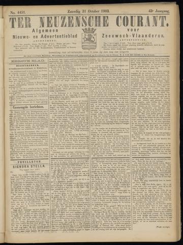 Ter Neuzensche Courant. Algemeen Nieuws- en Advertentieblad voor Zeeuwsch-Vlaanderen / Neuzensche Courant ... (idem) / (Algemeen) nieuws en advertentieblad voor Zeeuwsch-Vlaanderen 1903-10-31