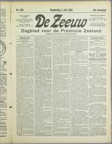 De Zeeuw. Christelijk-historisch nieuwsblad voor Zeeland 1930-07-03