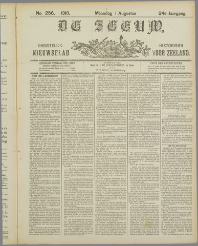 De Zeeuw. Christelijk-historisch nieuwsblad voor Zeeland 1910-08-01