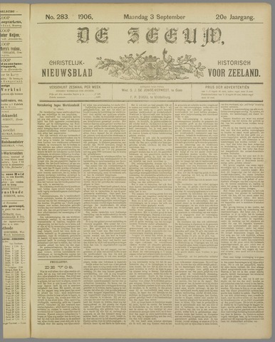 De Zeeuw. Christelijk-historisch nieuwsblad voor Zeeland 1906-09-03