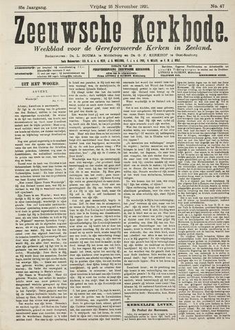 Zeeuwsche kerkbode, weekblad gewijd aan de belangen der gereformeerde kerken/ Zeeuwsch kerkblad 1921-11-25
