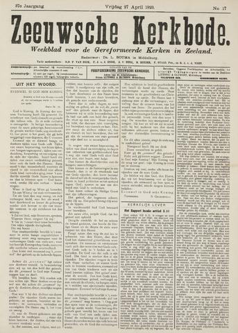 Zeeuwsche kerkbode, weekblad gewijd aan de belangen der gereformeerde kerken/ Zeeuwsch kerkblad 1923-04-27
