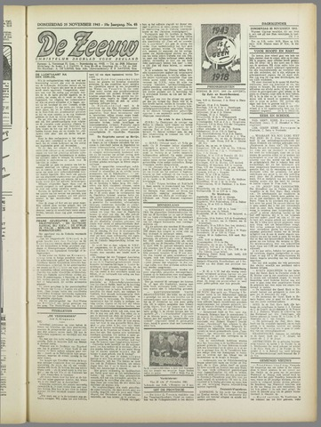 De Zeeuw. Christelijk-historisch nieuwsblad voor Zeeland 1943-11-25