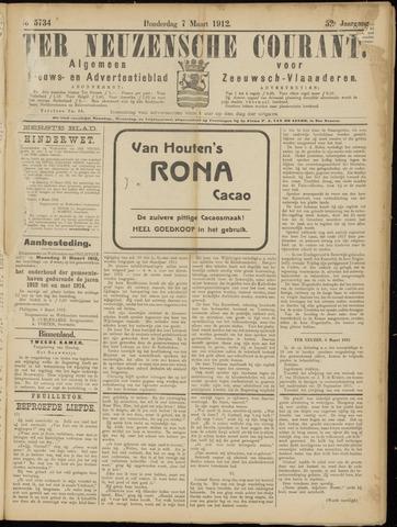 Ter Neuzensche Courant. Algemeen Nieuws- en Advertentieblad voor Zeeuwsch-Vlaanderen / Neuzensche Courant ... (idem) / (Algemeen) nieuws en advertentieblad voor Zeeuwsch-Vlaanderen 1912-03-07