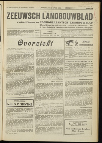 Zeeuwsch landbouwblad ... ZLM land- en tuinbouwblad 1951-04-14