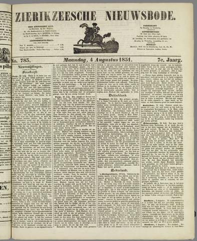 Zierikzeesche Nieuwsbode 1851-08-04