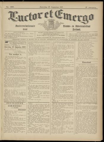 Luctor et Emergo. Antirevolutionair nieuws- en advertentieblad voor Zeeland / Zeeuwsch-Vlaanderen. Orgaan ter verspreiding van de christelijke beginselen in Zeeuwsch-Vlaanderen 1917-08-25