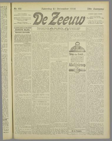 De Zeeuw. Christelijk-historisch nieuwsblad voor Zeeland 1924-12-13