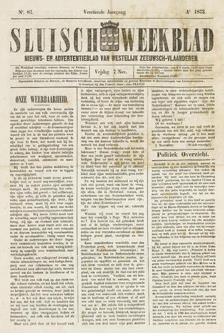 Sluisch Weekblad. Nieuws- en advertentieblad voor Westelijk Zeeuwsch-Vlaanderen 1873-11-07