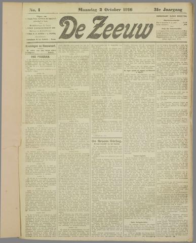 De Zeeuw. Christelijk-historisch nieuwsblad voor Zeeland 1916-10-02