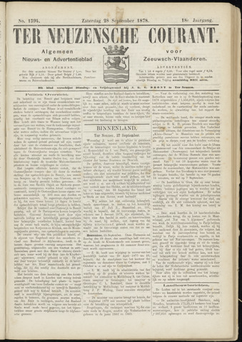 Ter Neuzensche Courant. Algemeen Nieuws- en Advertentieblad voor Zeeuwsch-Vlaanderen / Neuzensche Courant ... (idem) / (Algemeen) nieuws en advertentieblad voor Zeeuwsch-Vlaanderen 1878-09-28