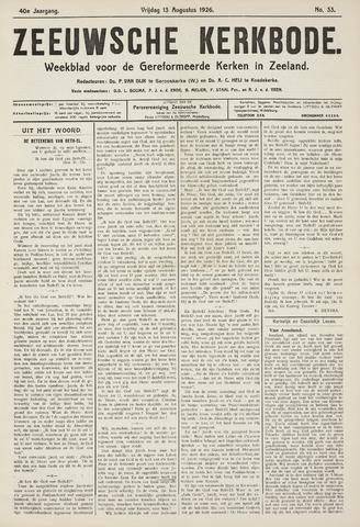 Zeeuwsche kerkbode, weekblad gewijd aan de belangen der gereformeerde kerken/ Zeeuwsch kerkblad 1926-08-13