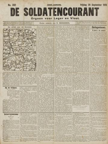 De Soldatencourant. Orgaan voor Leger en Vloot 1916-09-29