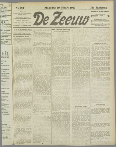 De Zeeuw. Christelijk-historisch nieuwsblad voor Zeeland 1917-03-19