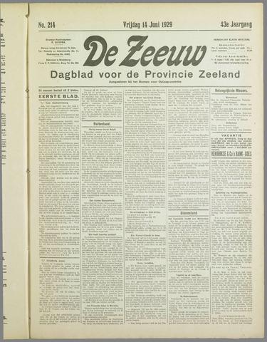 De Zeeuw. Christelijk-historisch nieuwsblad voor Zeeland 1929-06-14
